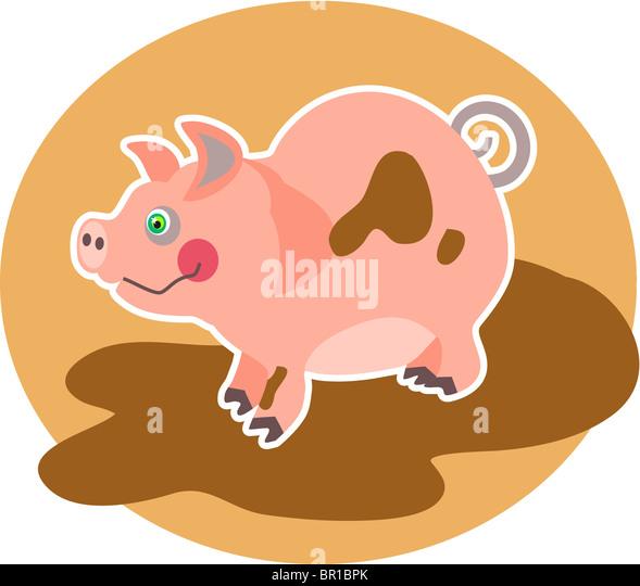 Illustration of a little pig - Stock Image