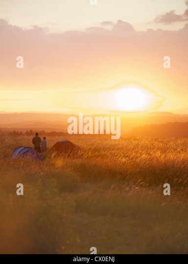 Campers at Sunset - Stock Image
