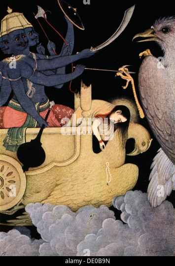 Ravana fighting with Jatayu, 1913.  Artist: K Venkatappa - Stock Image