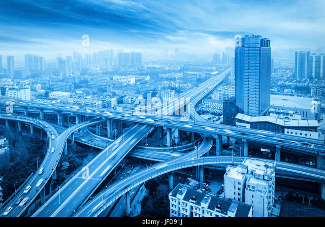 city overpass with blue tone - Stock Image