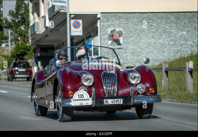 Jaguar vintage cars at the start of annual the British Classic Car Meeting 2014, St.Moritz, Switzerland. - Stock Image