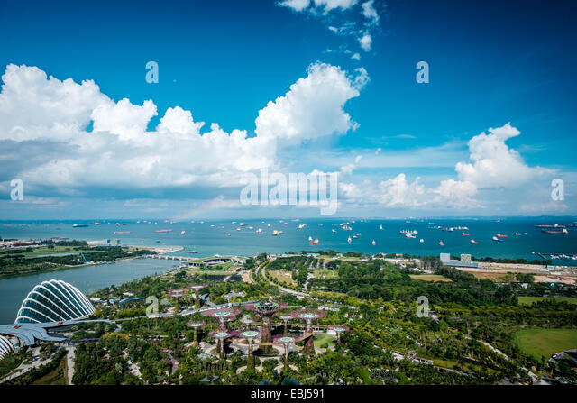 Garden by the bay in the city of Singapore - Stock Image