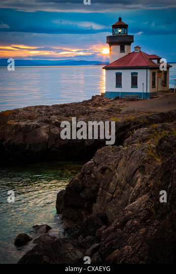 Lime Kiln lighthouse on San Juan Island, Washington - Stock-Bilder