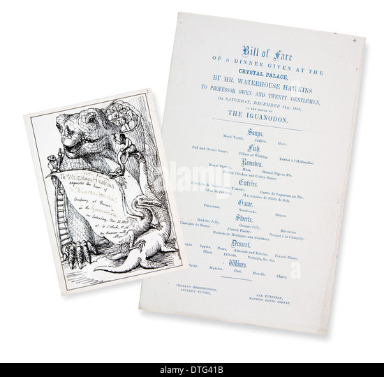 Victorian invitation and menu for dinner at Crystal Palace (New Year's Eve 1853) - Stock Image