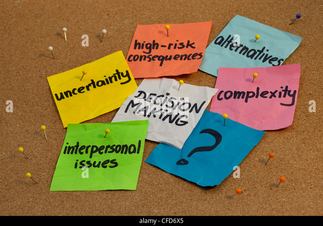 problems in decision making process - uncertainty, alternatives, risk consequences, complexity, personal issues - Stock Image