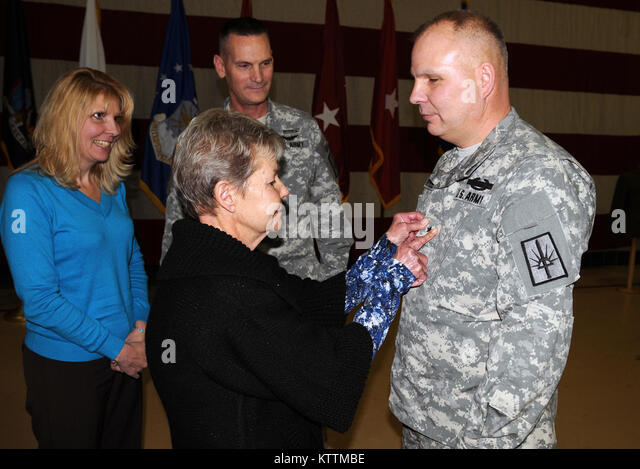 Col. Raymond Shield, Director of Joint Staff, Joint Force Headquarter, New York National Guard, was promoted to - Stock Image
