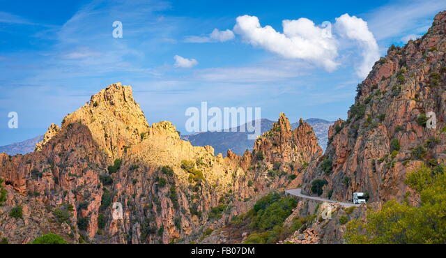 Les Calanches, volcanic red rocks formations mountains landscapes, Golfe de Porto, Piana,  Corsica Island, France, - Stock-Bilder
