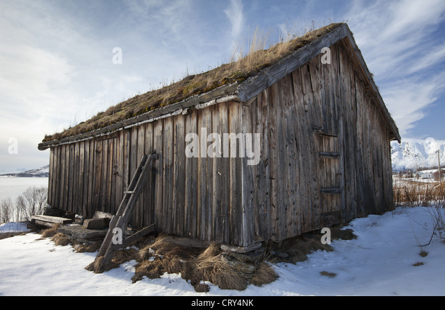 Straumengard Museum in log cabin at Straumsfjord on Kvaloya Island near Tromso in Arctic Circle Northern Norway - Stock Image