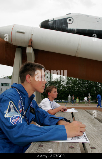 Huntsville Alabama US Space and Rocket Center Space Camp shuttle students - Stock Image