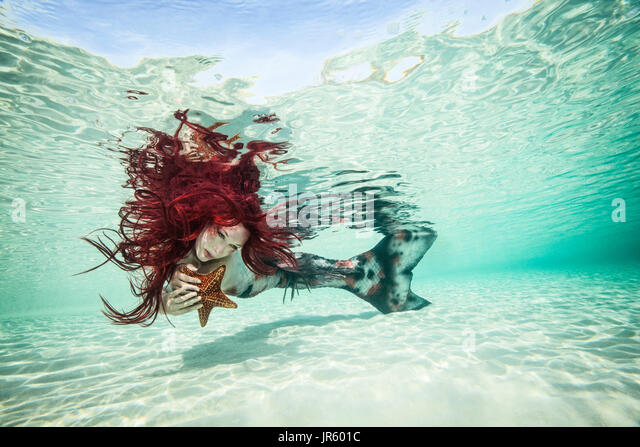 Redhead mermaid and her sea star companion, Nassau - Stock Image