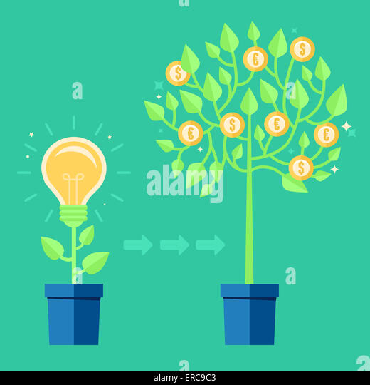 Vector creative concept in flat style - light bulb growing from the flower pot - idea icon - Stock-Bilder
