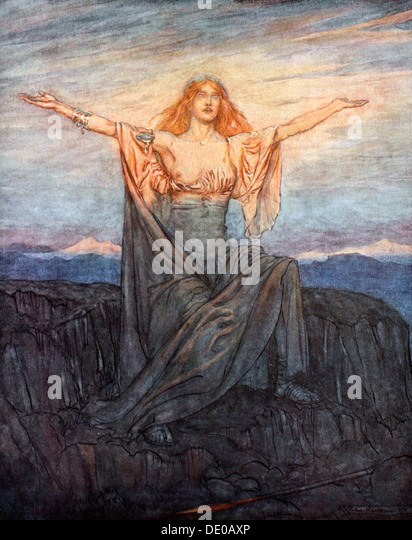 'Sun, I hail thee! Hail, O light! Hail, O glorious day!', 1924.  Artist: Arthur Rackham - Stock Image