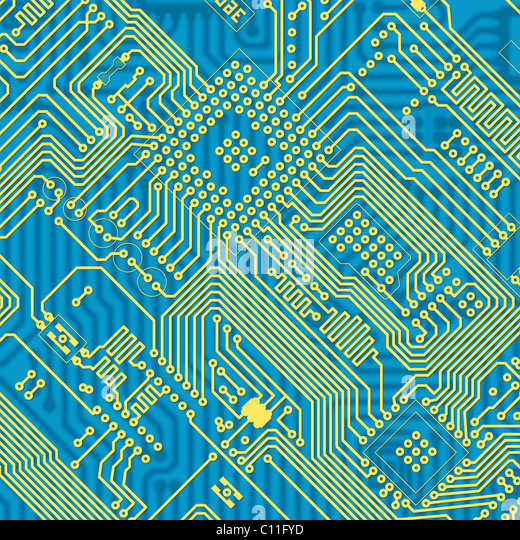 Printed blue industrial circuit board texture - Stock Image