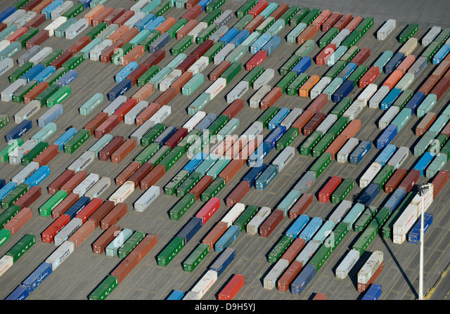 GERMANY Hamburg container harbour , terminal HHLA at Burchard quai in Hamburg port - Stock Image