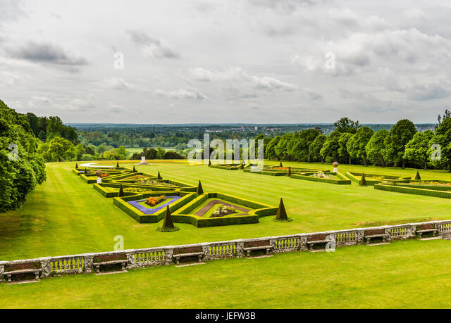 Looking over the formal gardens at Cliveden, Buckinghamshire, UK to the River Thames - Stock Image