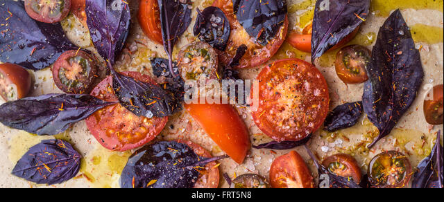 Tomatoes with salt and red basil wide screen - Stock Image