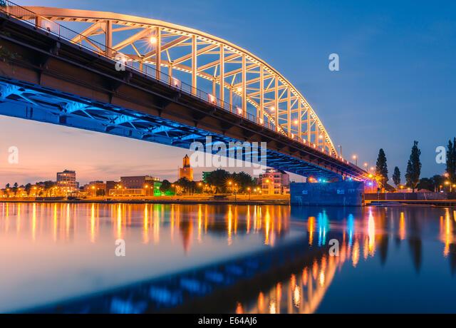 John Frost Bridge (John Frostbrug in Dutch) is the road bridge over the Lower Rhine at Arnhem, in the Netherlands. - Stock Image