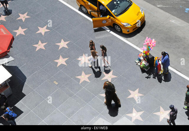 Walk of Fame along Hollywood Boulevard in downtown Los Angeles, California - Stock Image