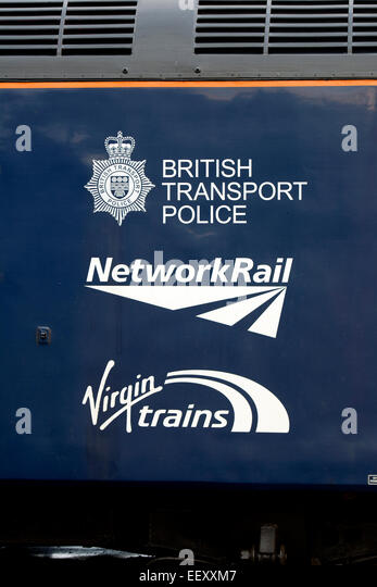 Detail of Direct Rail Services class 57 diesel 'Cable thieves we`re watching you' liveried locomotive. - Stock Image