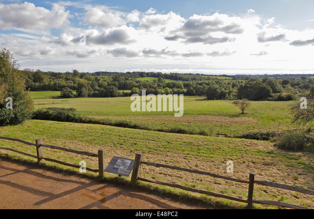 View over the site of the 1066 Battle of Hastings battlefield at Battle Abbey,  East Sussex, England, GB, UK - Stock Image