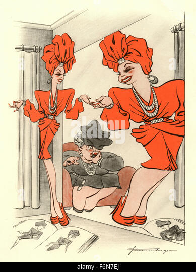 German satirical illustrations 1950: Woman in the mirror - Stock Image