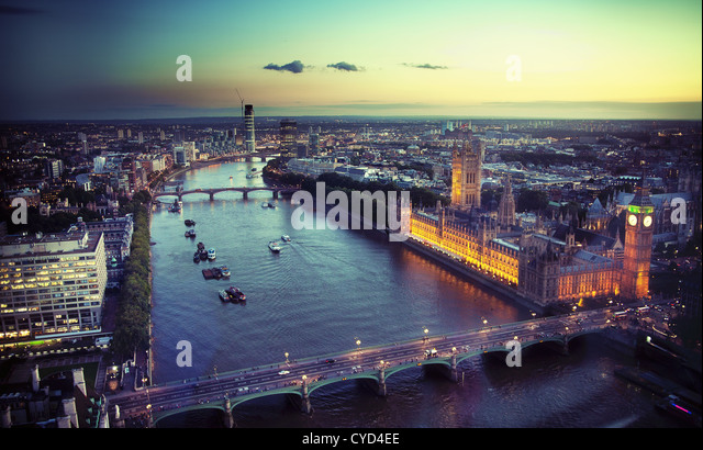 Beautiful view of a city - Stock Image