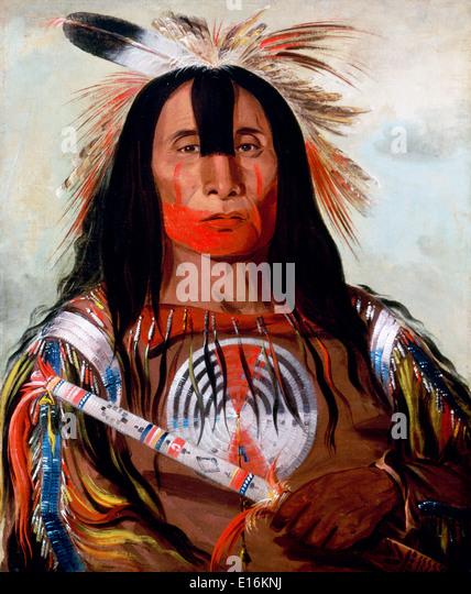 Painting of Stu-mick-o-súcks (Buffalo Bull's Back Fat) a Blood chief by George Catlin - Stock-Bilder