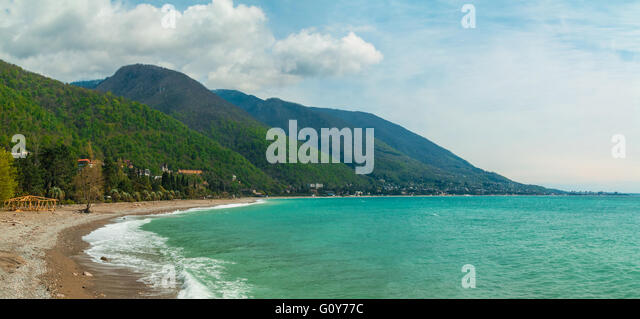 Panoramic view of the coastline, mountains and the sea in Gagra, Abkhazia - Stock Image