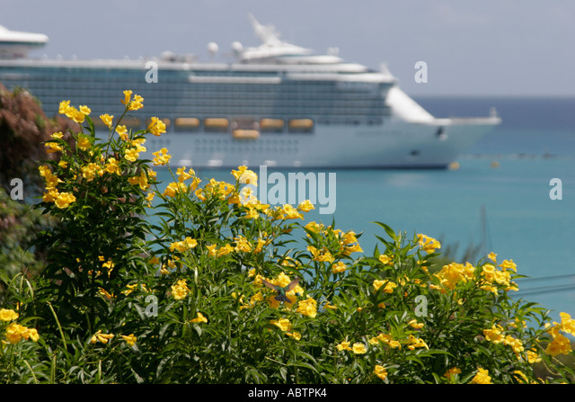 St. Thomas USVI Charlotte Amalie Blackbeard's Hill view from 99 Steps Ginger Thomas flower cruise ship - Stock Image