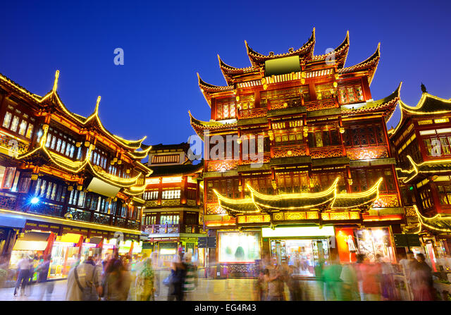 Shanghai, China at Yuyuan Garden district. - Stock Image