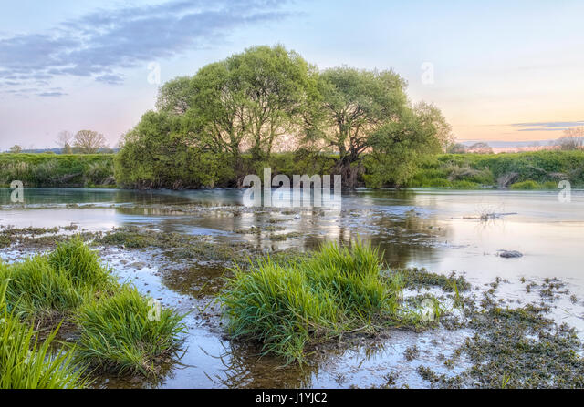 river Stour next to the White Mill Bridge, Sturminster Marshall, Dorset, England, UK - Stock-Bilder