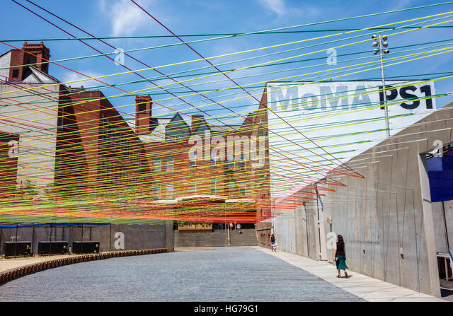 New York New York City NYC Queens Long Island City MoMA PS1 contemporary art Escobedo Soliz Studio Weaving the Courtyard - Stock Image