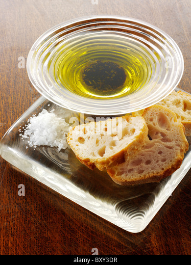 Dipping oil and chiabatta snack - Stock-Bilder