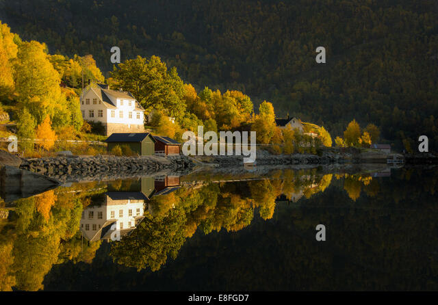 Houses and trees by side of lake - Stock Image