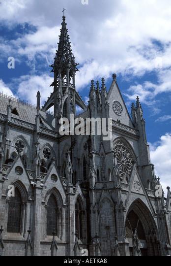 Ecuador Quito Basilica de Quito gothic style gargoyles - Stock Image