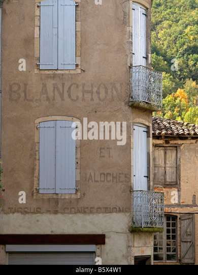 old house with scripture of collapsed firma Blanchon producer of sabots Saint Antonin Noble Val Midi Pyrenees - Stock Image