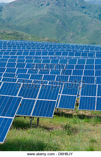 Solar park cells panels alternative energy power - Stock Image
