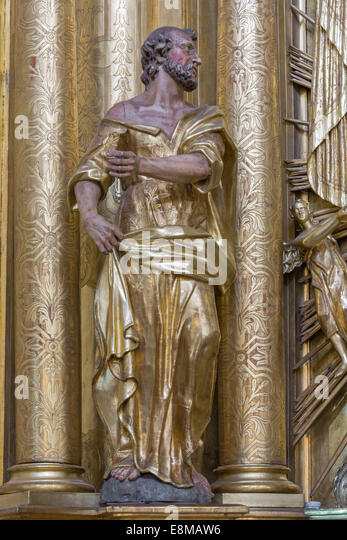 TRNAVA, SLOVAKIA - MARCH 3, 2014: The polychrome statue of saint Peter the apostle in the Jesuits church. - Stock Image