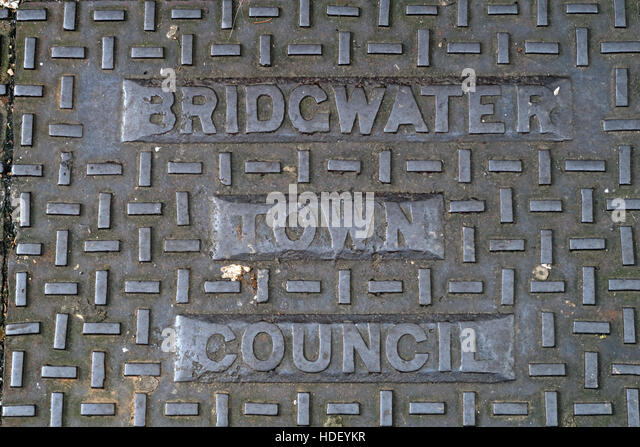 Bridgwater Town Council cast iron drain grid,Somerset,SW England,UK - Stock Image