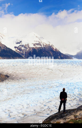 Chile, Patagonia, Torres del Paine National Park (UNESCO Site), Lake and Glacier Grey - Stock Image
