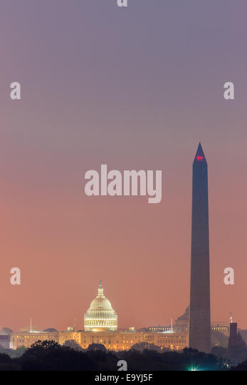 Washington Monument and Capitol at sunrise taken from Arlington, Virginia, USA. - Stock Image