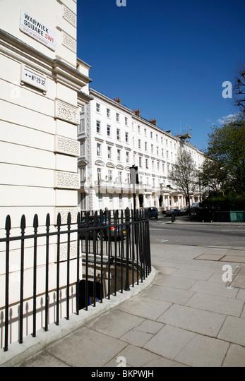 Regency housing in Warwick Square, Pimlico, London, UK - Stock Image