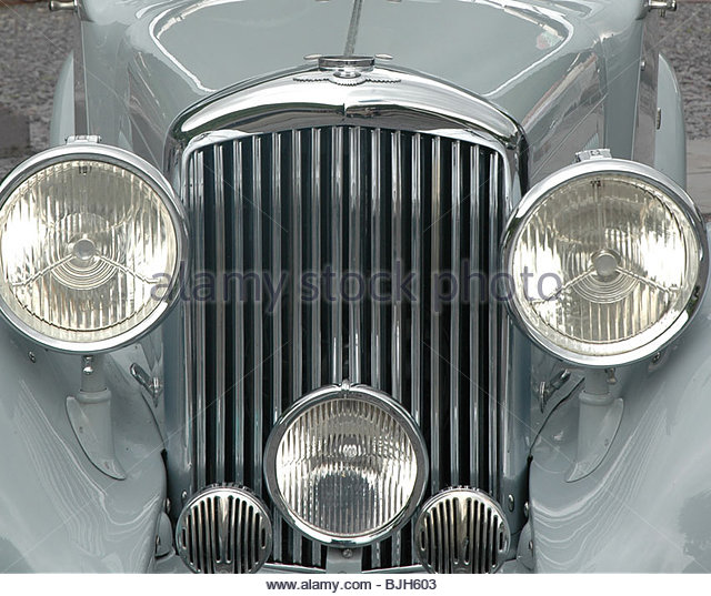 Vintage Rolls Royce silver car - Stock Image