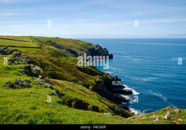 Cornwall Coast scene at the Lizard Peninsula on the South West Coast Path, England, UK - Stock Image