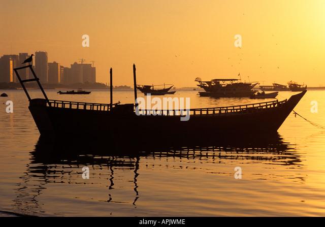 Port area at sunset Abu Dhabi United Arab Emirates - Stock Image