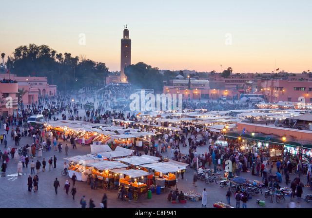 Morocco, North Africa, Africa, Marrakech, Medina, business, trade, shop, Djemaa el Fna, place, Koutobia, tower, - Stock Image