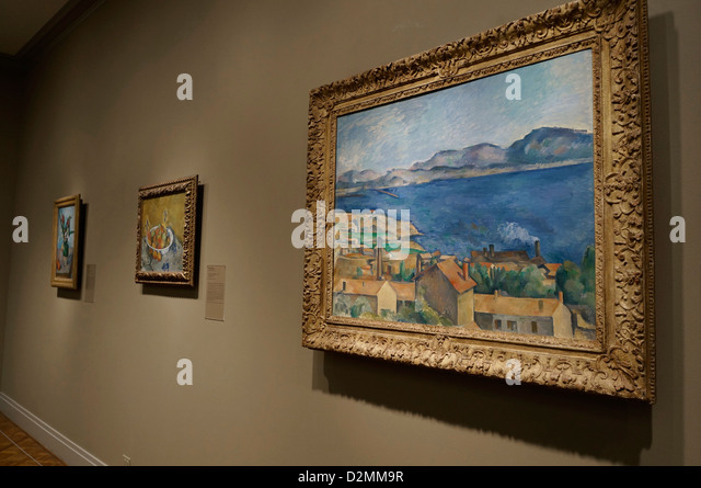 'The Bay of Marseilles, Seen from L'Estaque , c. 1885. Painted by Paul Cezanne - Stock Image