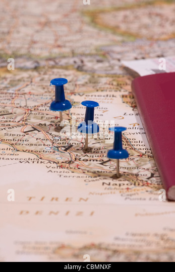 map and pin - Stock Image