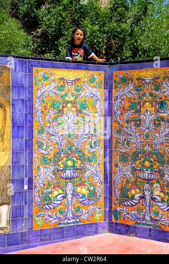 Argentina Mendoza Plaza Espana Spanish Fraternity Monument Majolica tile mosaic Spanish conquest Hispanic boy child - Stock Image