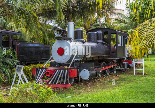 Nostalgic steam locomotives, Marcelo Salado Sugar Museum, Caibarién, Remedios, Cuba - Stock Image
